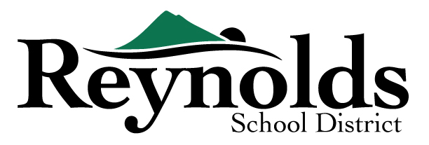 Black and green logo for Reynolds School District